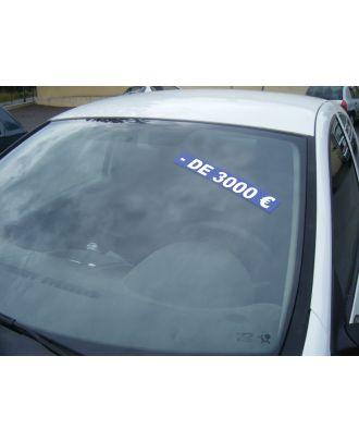 Autocollant Pare Brise Avantage bleu - de 3000 €