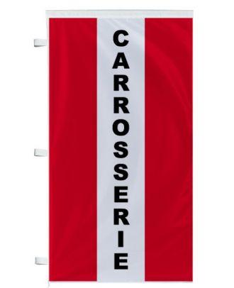 Bannière Carrosserie rouge à bandes latérales
