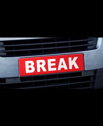 Cache plaque d'immatriculation avantage Break rouge