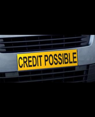Cache plaque d'immatriculation avantage Crédit Possible jaune et noir