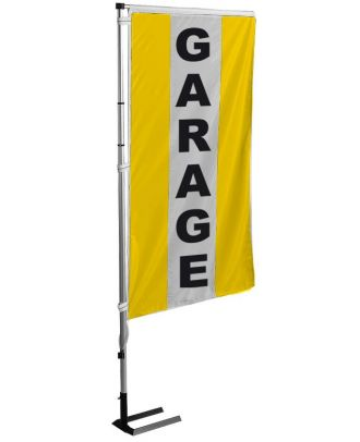 Kit mat et drapeau garage jaune à bandes latérales 4 m