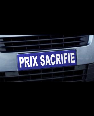 Cache plaque d'immatriculation Avantage Prix Sacrifié bleu